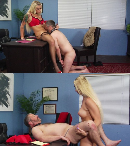 Aubrey Kate - PRETTY BLONDE TRANS BABE ENJOYS HER COLLARED SUBMISSIVE MAN IN HER OFFICE [HD 720p] (SevereSexFilms)