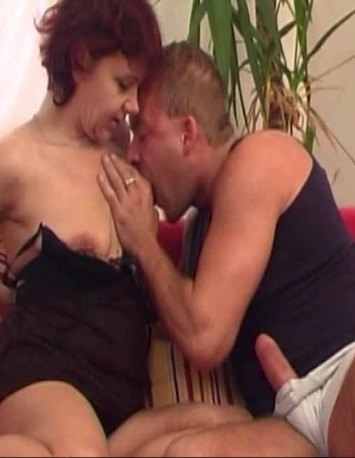 Redhead Mature In Sexy Lingerie Fucks Young Cock