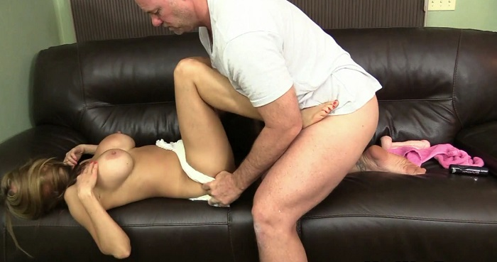 Teen with puffy nipples handjob