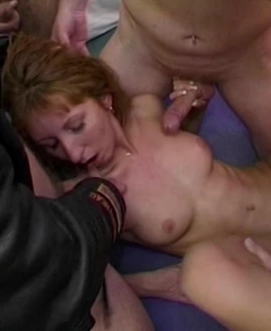 Sexy Brunette MILF Anal Gangbang By Four Men